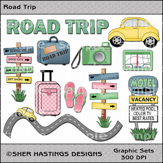 Vacation clipart road trip Travel Road Graphic Set Road
