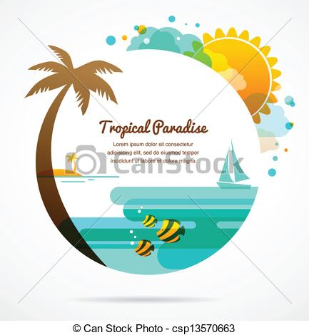 Vacation clipart paradise  Clip Vector background of