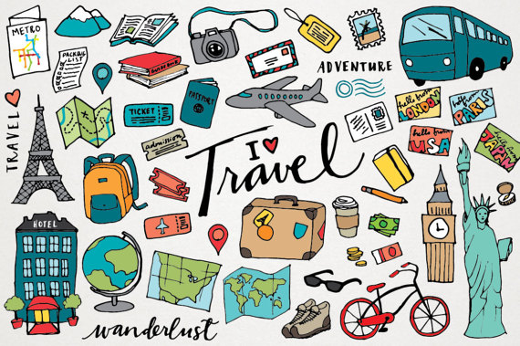 Vacation clipart travel Wanderlust LemonadePixel Travel art Clipart