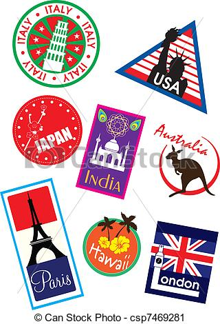 Country clipart sticker  csp7469281 Vector sticker travel