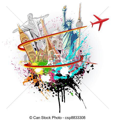 Landmark clipart world tour Of illustration World of famous