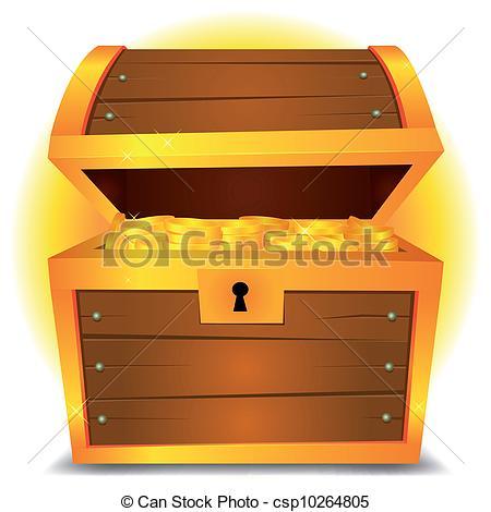 Chest clipart cartoon Illustration csp10264805 Treasure a Vector