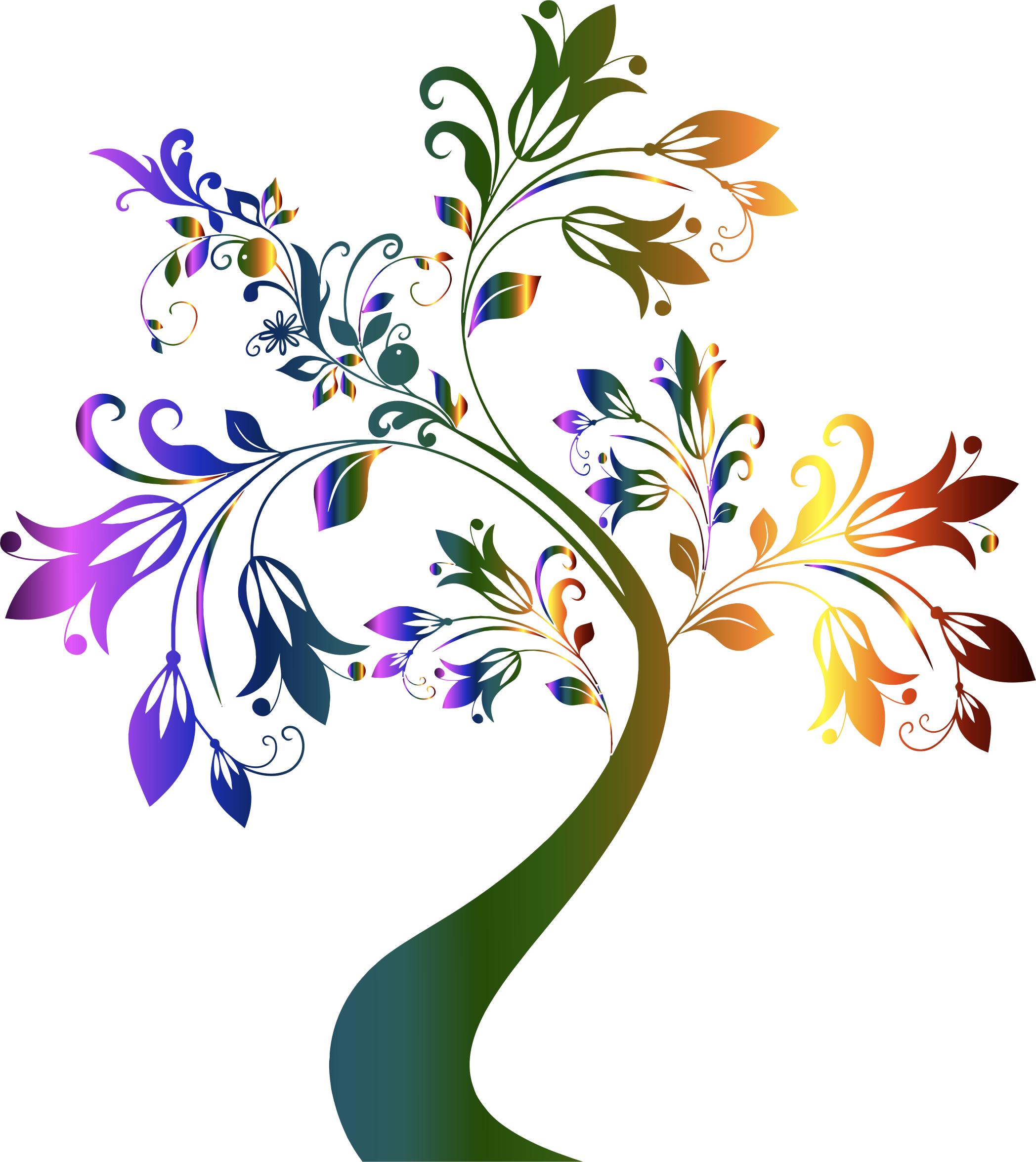 Tree clipart transparent background Tree Colorful Tree Clipart Floral