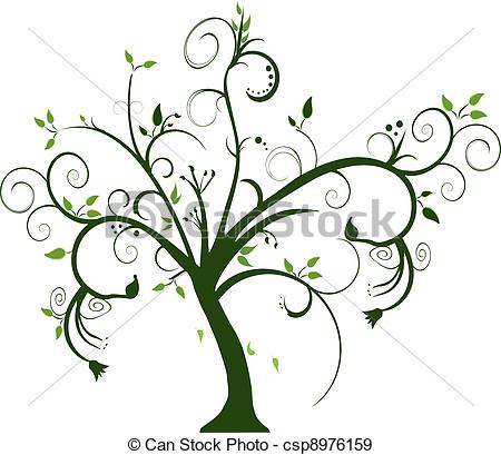 Tree clipart swirly #14