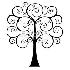 Tree clipart swirly #12