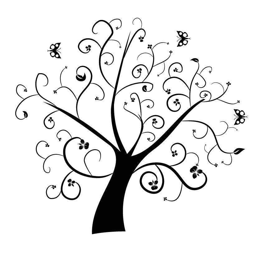Tree clipart swirly #13