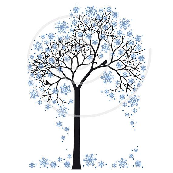 Winter clipart winter tree Tree art snowflakes art clipart