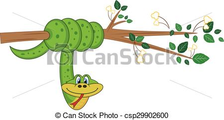Branch clipart snake On hanging colourfull branch tree
