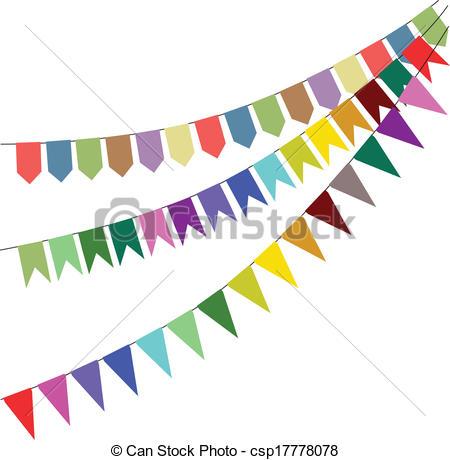 Carneval clipart banderitas Set garland csp17778078 Vectors bunting