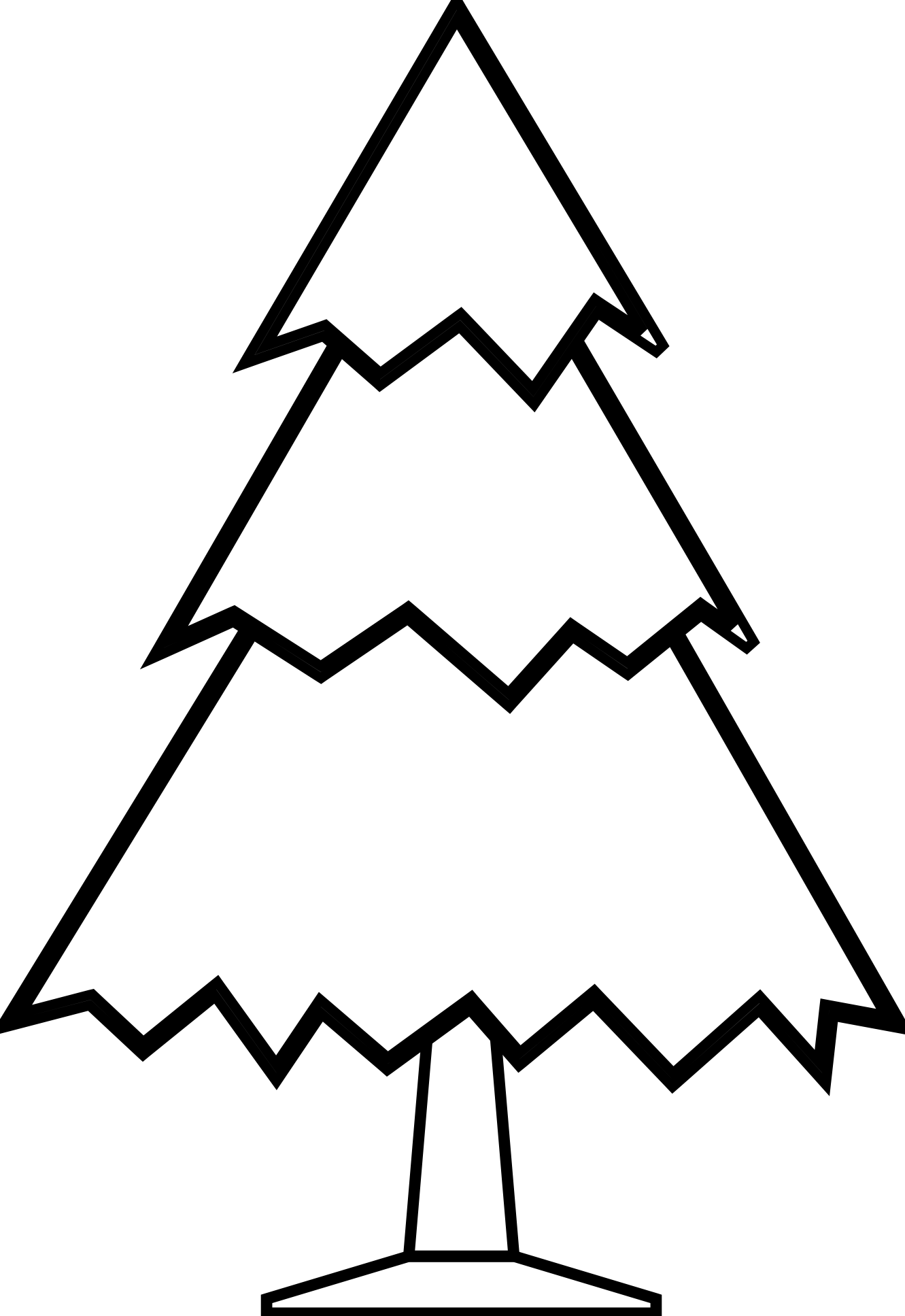Christmas Tree clipart black and white — White Clipartwork Trees and