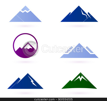 Triangle clipart mountain Vector white on white isolated