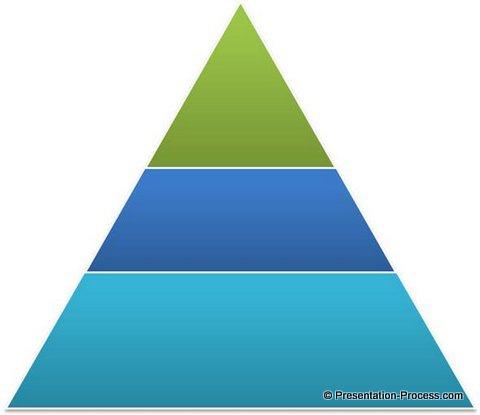 Drawn pyramid three PowerPoint Adjust Simple Pyramid Transparency