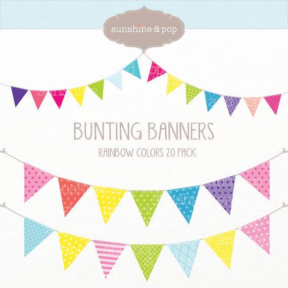 Bunting clipart celebration banner INSTANT DOWNLOAD Bunting scrapbook Digital