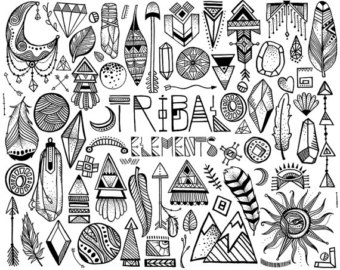 Tribal clipart element Tribal Elements Vector Etsy Sketched