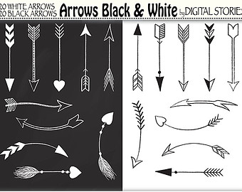 Arrow clipart hand drawn Digital for transparent Tribal Aztec