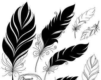 Tribal clipart line art Feathers Feather & Masculine Art