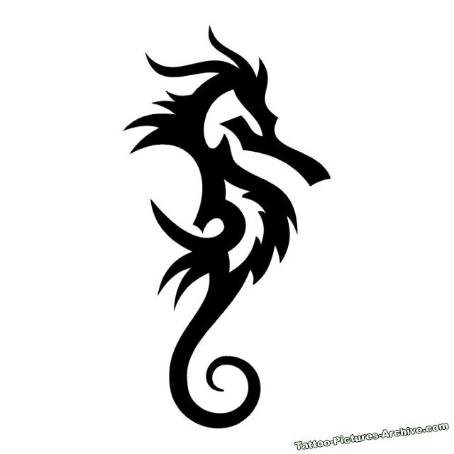 Drawn seahorse tribal Seahorse Tribal Tattoo Black 30+