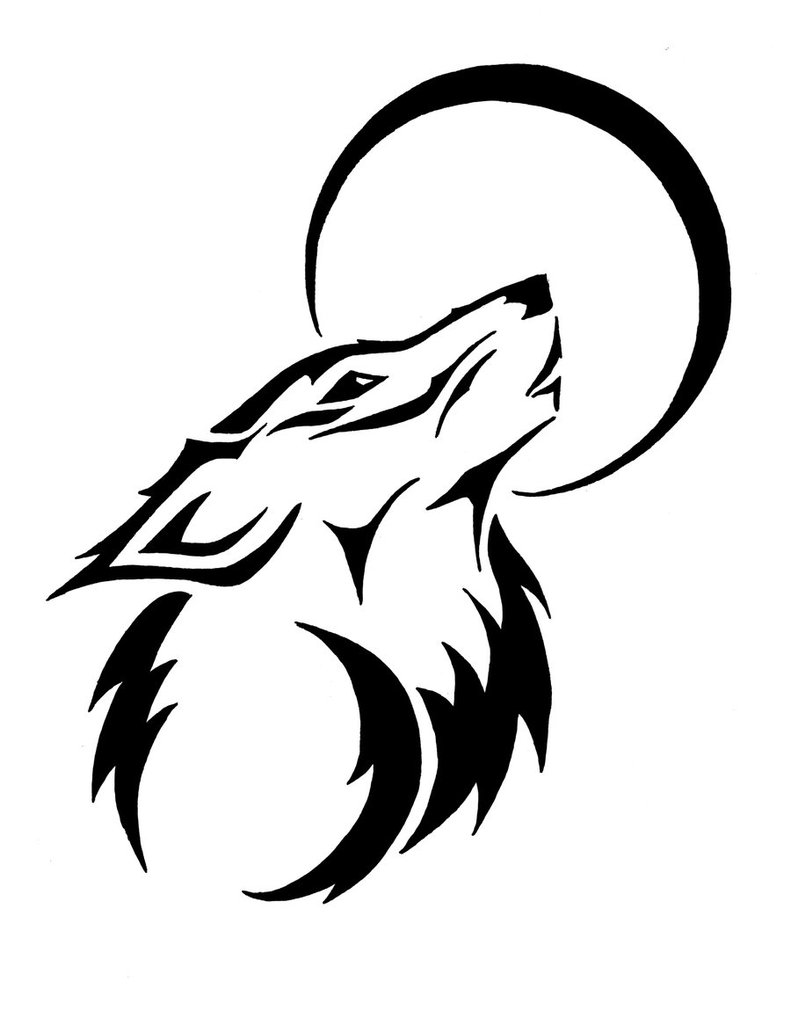 Drawn howling wolf stencil art For Pix Howling Free