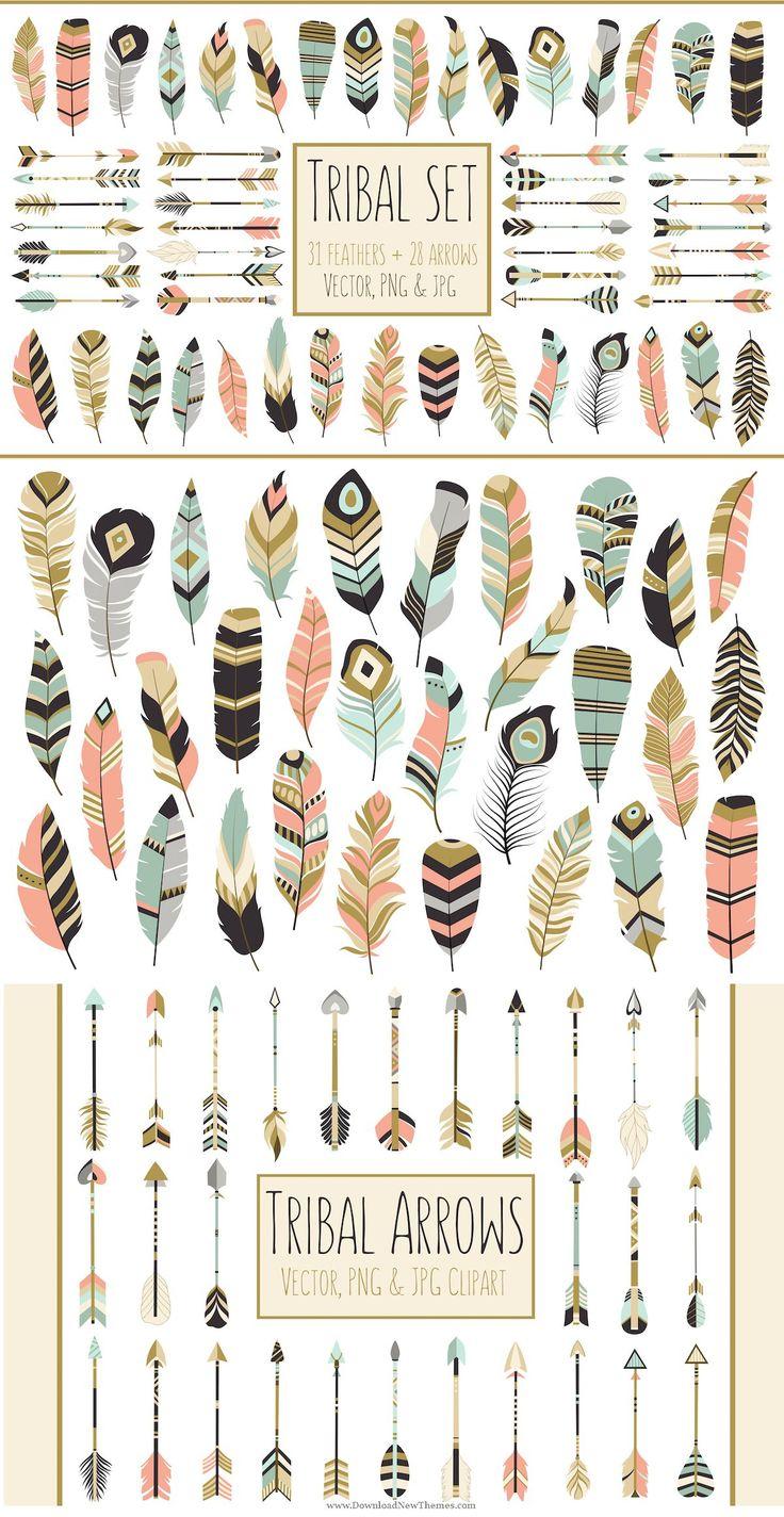 Tribal clipart tribal print Arrows Tribal arrows Feathers on