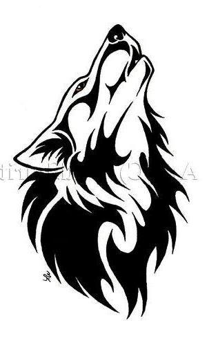 Drawn howling wolf stencil art Tattoo wolf TattoosTribal tattoos Best