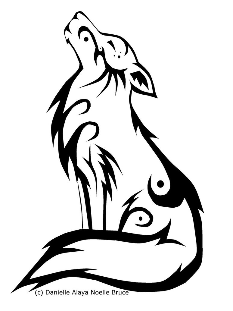 Drawn howling wolf celtic wolf By PassionatePaints Tribal Howling PassionatePaints