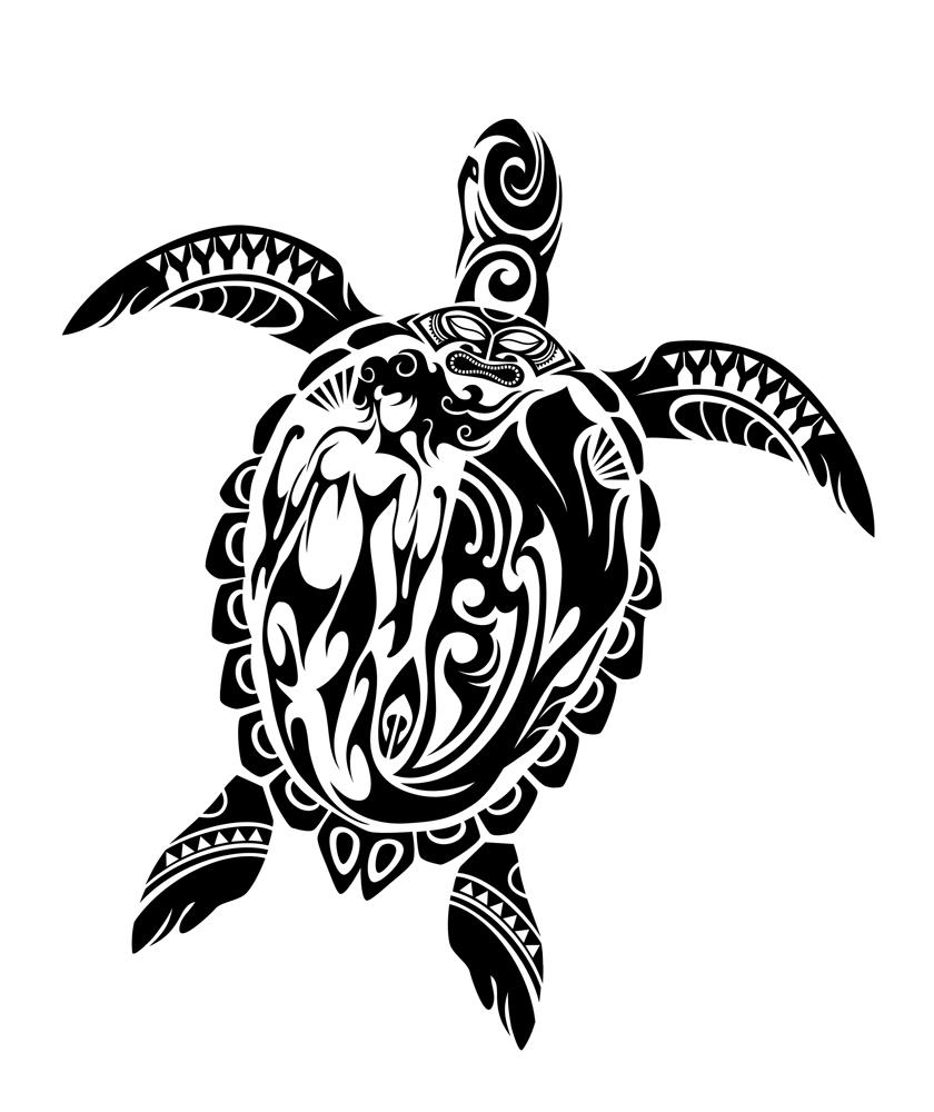 Drawn sea turtle japanese turtle Tribal Hawaii #387 Tattoo Hawaiian