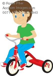 Tricycle clipart Of Boy A Tricycle Riding