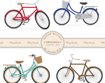 Bike clipart vintage bicycle Etsy Bike Clipart Art Large