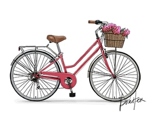 Bicycle clipart retro bike About Printable Instant Bike Flower