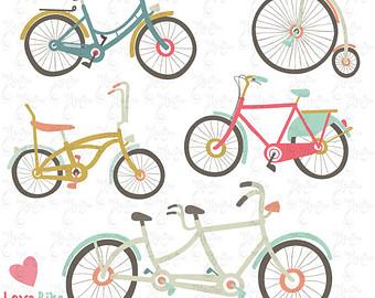 Bike clipart drawn CLIP Bike Etsy basket Retro