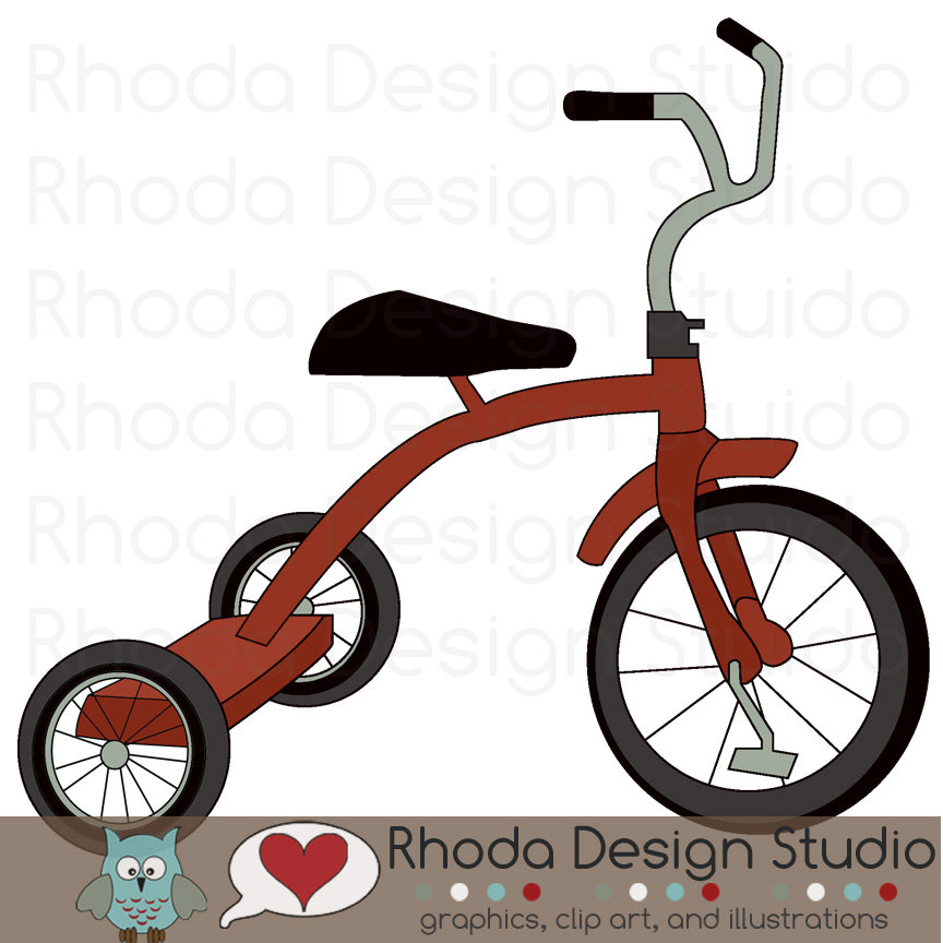 Bicycle clipart tricycle Digital Retro Trailers Camp Clip