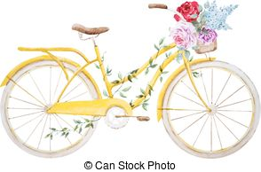 Basket clipart bike Old bicycle Watercolor vector Free