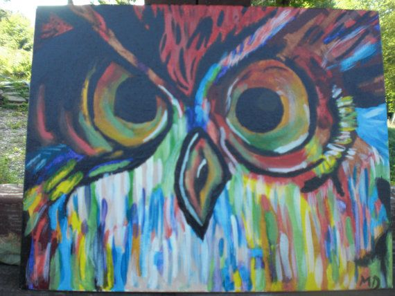 Triipy clipart acrylic painting Painting Owls images Etsy J'adore