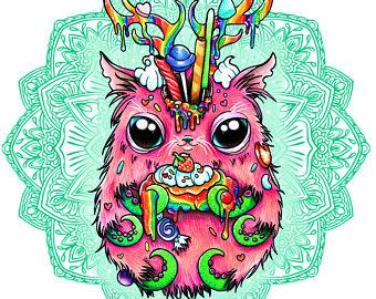 Triipy clipart cute Whimsical Print Magnet purple creature