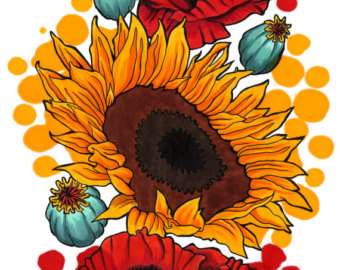 Triipy clipart sunflower Watercolor Style and (Colorful Illustration