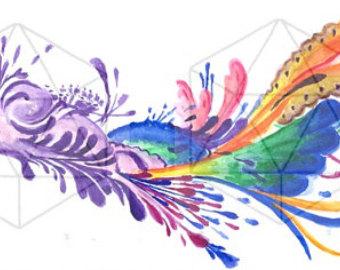 Triipy clipart watercolor Original painting watercolor watercolor Trippy
