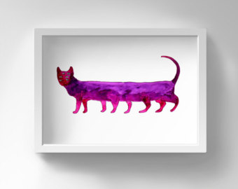 Triipy clipart watercolor Art Cat Crazy Watercolor Print