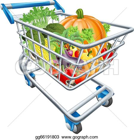 Cart clipart supermarket trolley Art shopping of fresh Drawing