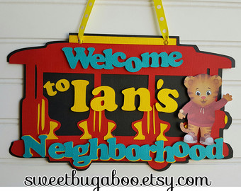 Trolley clipart daniel tiger Sign Daniel Etsy Welcome sign