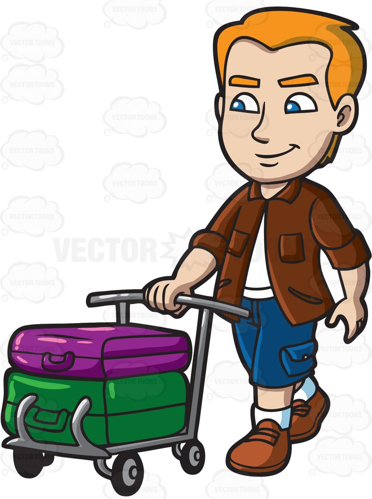 Trolley clipart kid A A with luggage man