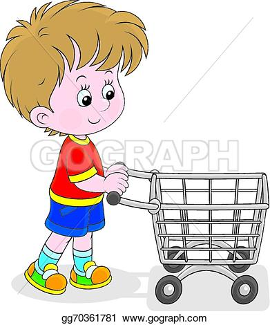 Trolley clipart kid Shopping with shopping Vector a