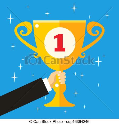 Trophy clipart achievement Business EPS Vector holding hand