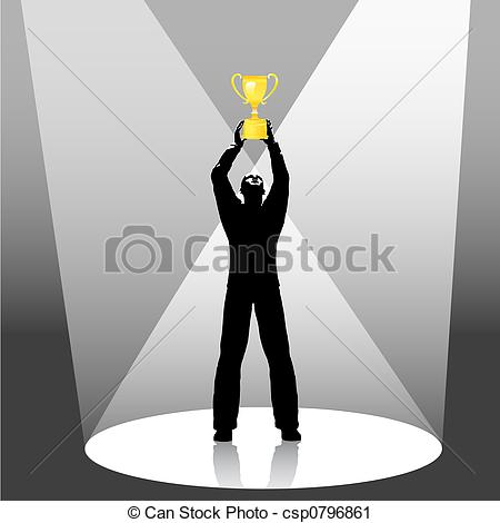 Trophy clipart person Person holds up trophy Illustration
