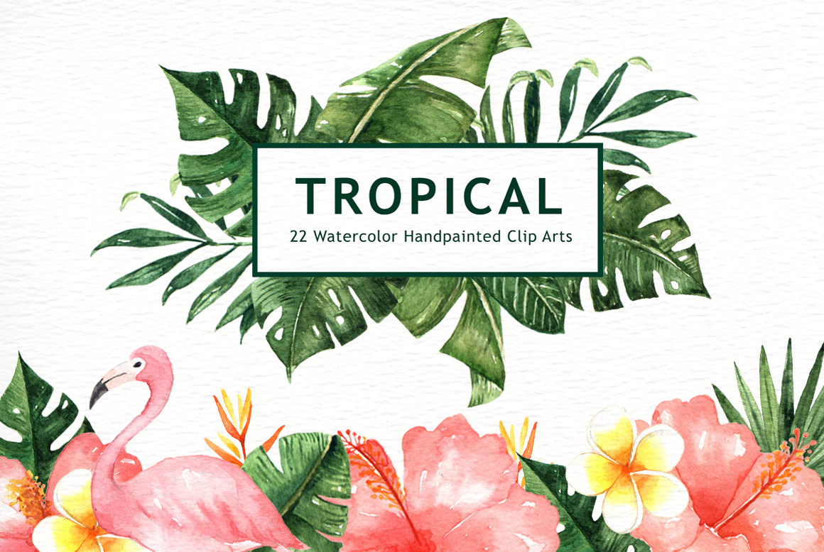 Tropical clipart Wedding flower Watercolor Leaves Tropical