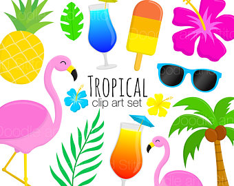Tropical clipart Digital Art Set Clipart Tropical