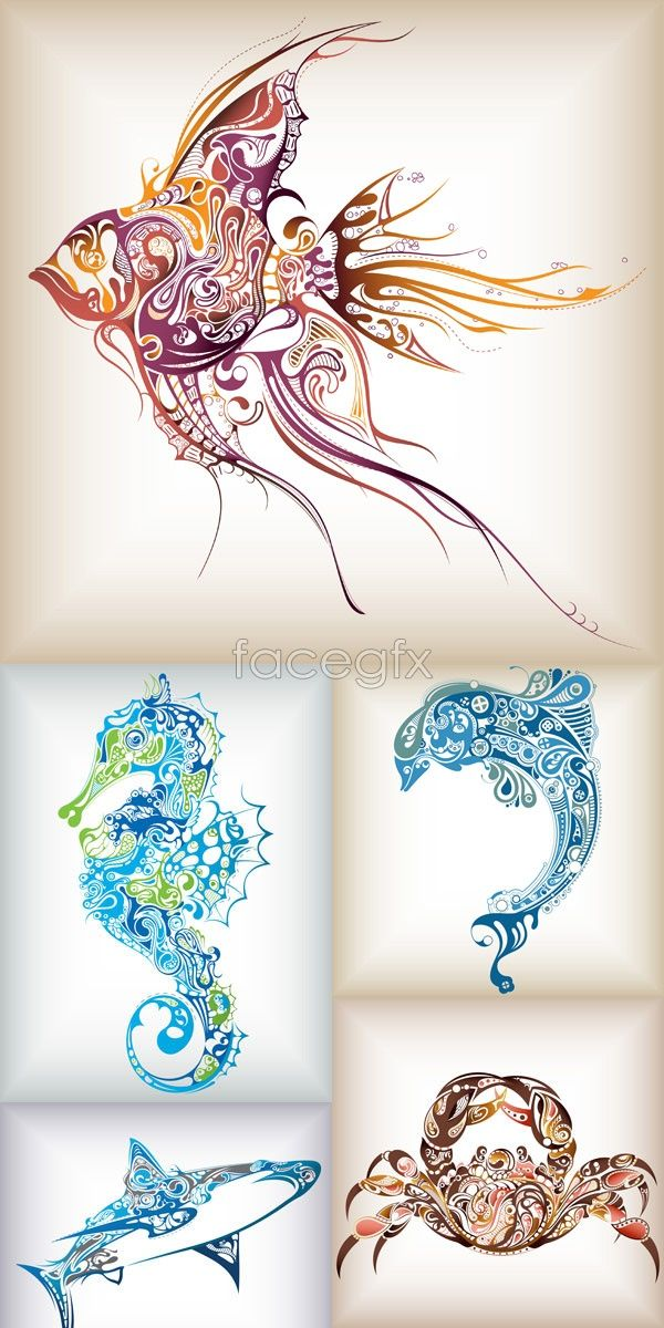 Drawn sea life tropical fish And Silhouettes Templates Vectors Life