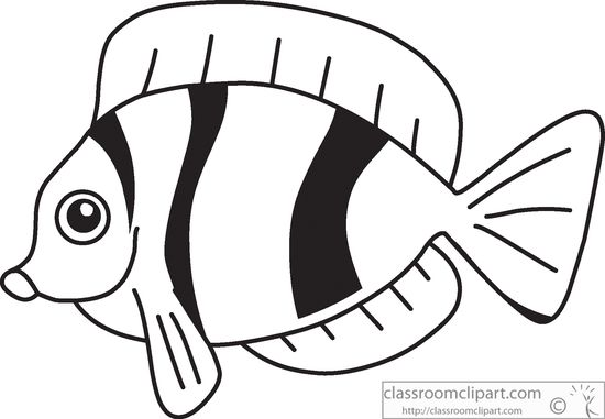 Fins clipart black and white Free black tropical fish clip