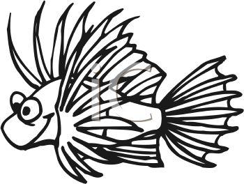 Lionfish clipart Black photo#4 White Clipart Tropical