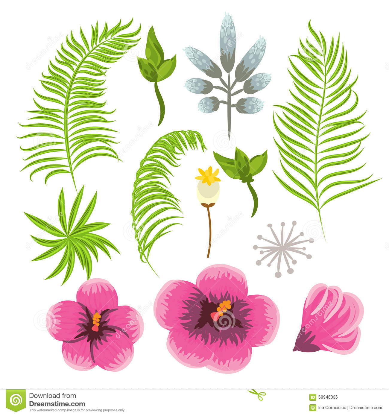 Tropical clipart green flower #2