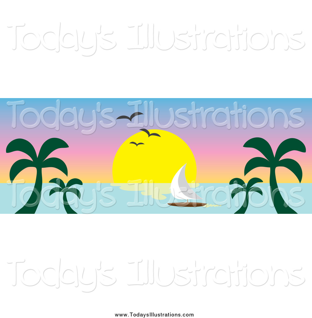 Tropical clipart ocean sunset #5